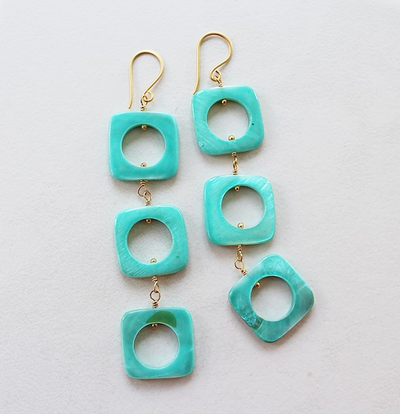 Turquoise Shell Trio Earrings - The Twiggy Earrings