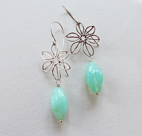 Vintage Aqua Glass and Flower Earrings - The Harper Earrings