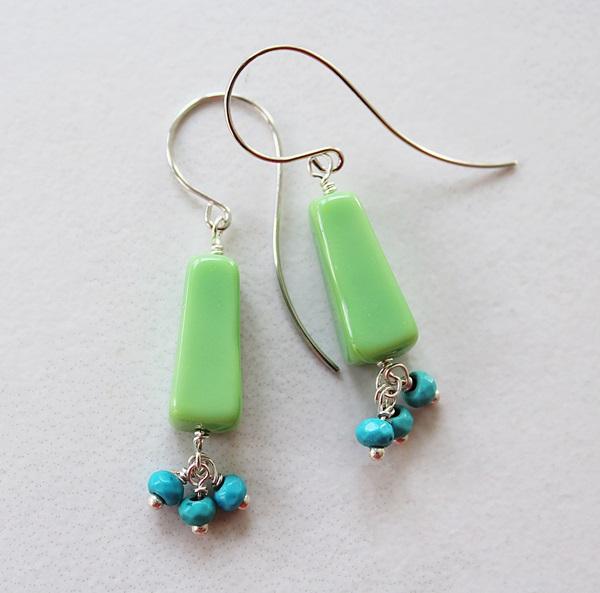 Matte Green Glass with Turquoise Dangle Earrings - The Darla Earrings