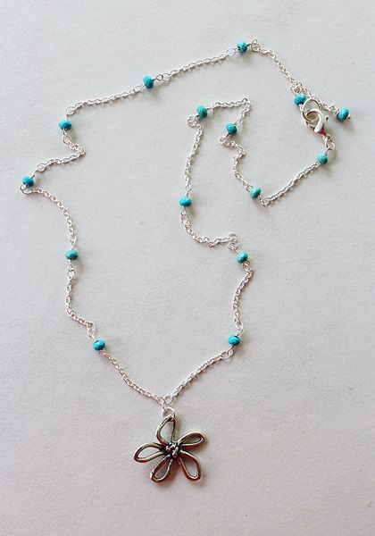 Sterling Silver and Turquoise Necklace - The Daisy Jane Necklace