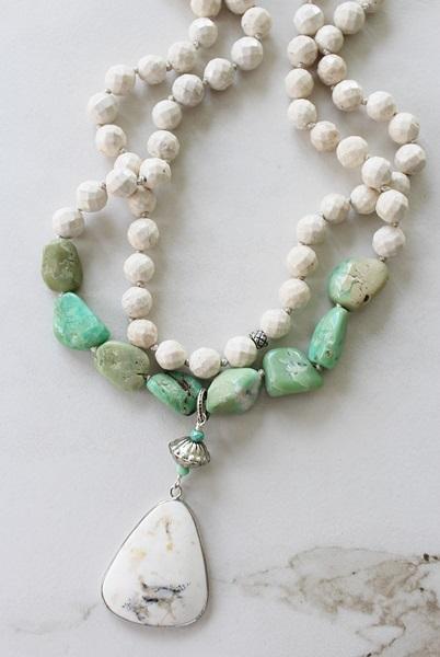 Riverstone and Chrysoprase Necklace - The Malibu Necklace