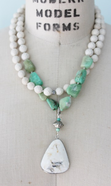Riverstone and Chrysoprase Necklace - The Malibu Necklace
