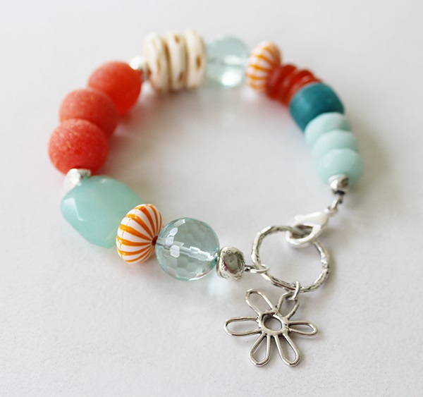Mixed Glass and Flower Charm Bracelet - The Key West Bracelet