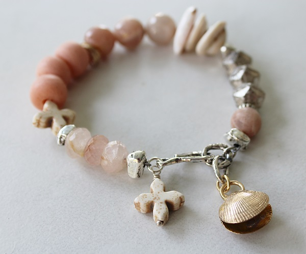 Australian Peach Moonstone and Mixed Glass Bracelet - The Bondy Bracelet