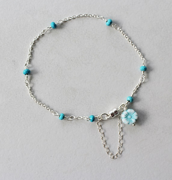 Sterling Silver and Turquoise Bracelet or Anklet - The Tori Bracelet