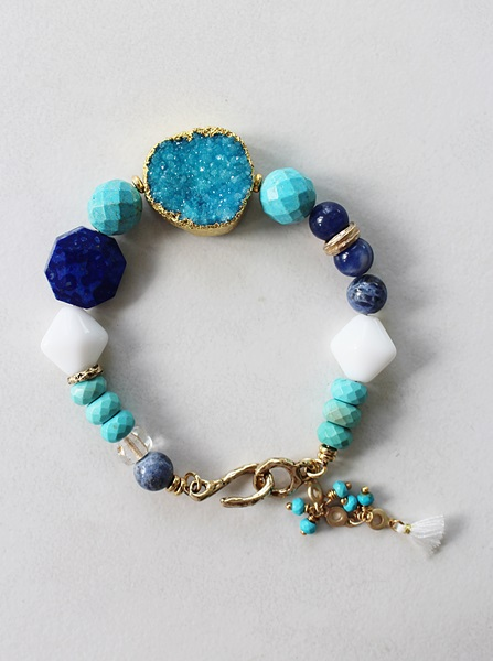 Druzy and Mixed Gem and Glass Bracelet - The Santorini Bracelet