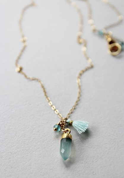 Petite Tassel and Gemstone Point Necklace - The Darci Necklace