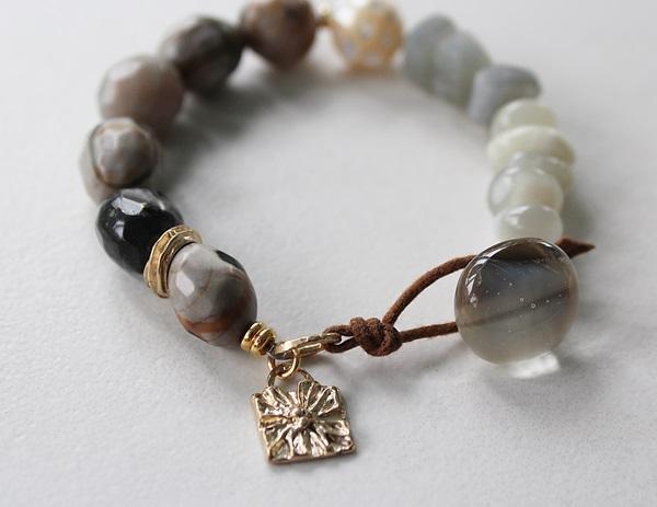 Natural Amazonite, MOP, Gray Moonstone, Moonstone Bracelet - The Mesa Bracelet