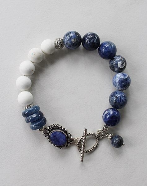 Lapis, Sodalite, Kyanite, White Turquoise Bracelet - The Como Bracelet