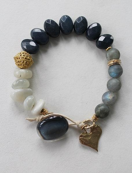 Blue Spinel, Labradorite, Moonstone Bracelet - The Victoria Bracelet