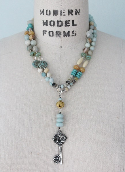 Mixed Gem and Glass Knotted Necklace - The Sea Siren Necklace