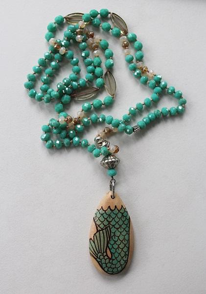 Vintage Aqua Glass and Handmade Wood Pendant - The Mermaid Tale Necklace
