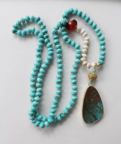 Turquoise, Carnelian, Magnesite and Sea Sediment Pendant - The Yuma Necklace