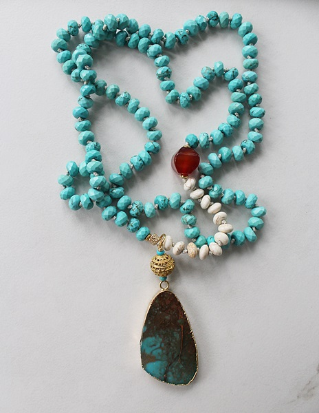 Turquoise, Carnelian, Magnesite and Sea Sediment Pendant - The Yuma Necklace
