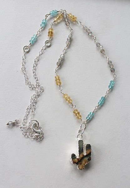 Citrine, Labradorite, Aqua Blue Quartz and Cactus Pendant - The Arizona Necklace