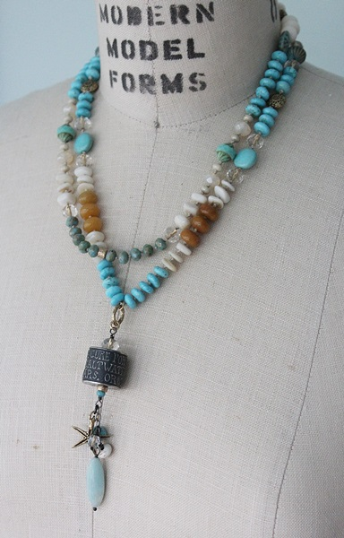 Mixed Gem and Glass Sterling Silver Barrel Necklace - The Cure Necklace