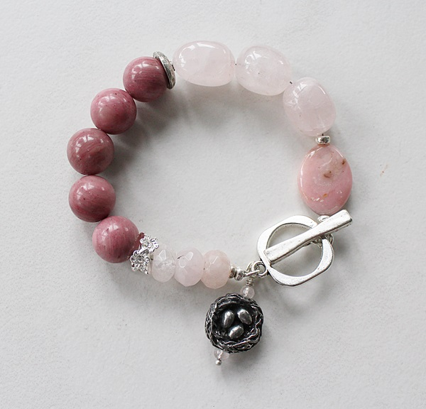 Rhodonite and Rose Quartz Bracelet -  The Nest Bracelet