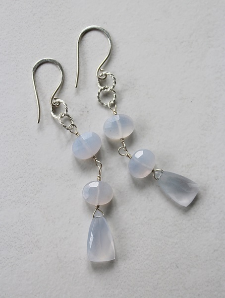 Blue Chalcedony and Sterling Silver Earrings - The Skye Earrings