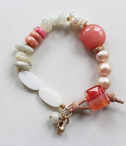 Coral, Mother of Pearl, Fresh Water Pearl Bracelet - The Bahama Bracelet