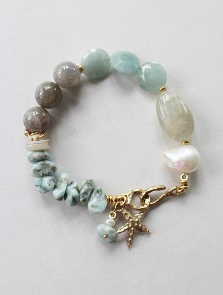 Larimar, Moonstone, Fresh Water Pearl, Labradorite, Aquamarine Bracelet - The Beachcomber Bracelet