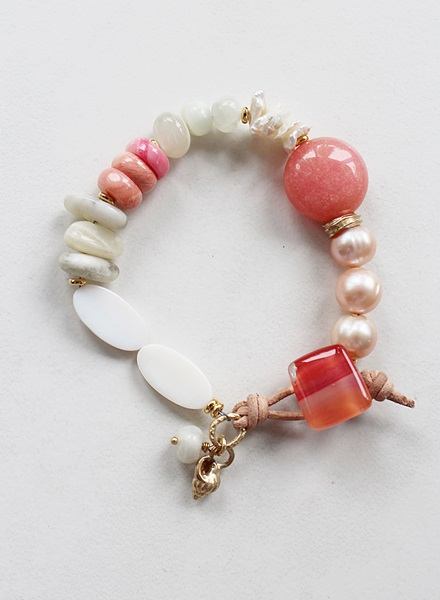 Moonstone, Larimar, Fresh Water Pearl Sterling Silver Bracelet - The Capistrano Bracelet