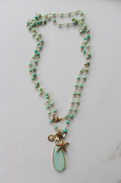 Sea Blue Chalcedony and Mixed Glass Starfish Necklace - The Newport Necklace