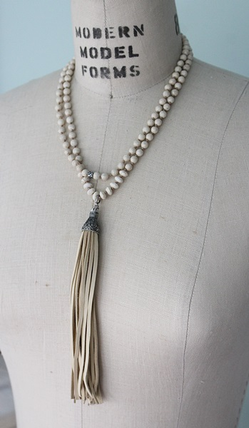 Riverstone and Magnesite Tassel Necklace - The Havasu Necklace
