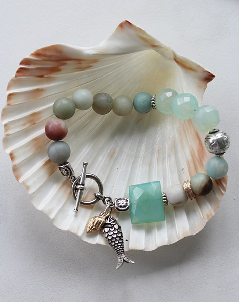 Amazonite and Sea Blue Chalcedony Bracelet - The Bodega Bay Bracelet