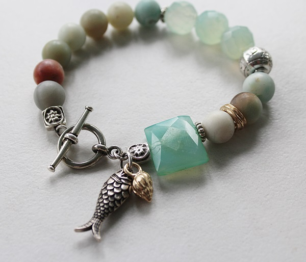 Amazonite and Sea Blue Chalcedony Bracelet - The Bodega Bay Bracelet