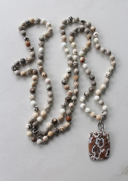 Magnesite and Crazy Lace Agate Pendant - The Painted Desert Necklace