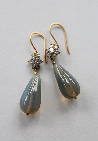 Rhinestone and Czech Glass Earrings - The Claire Earrings