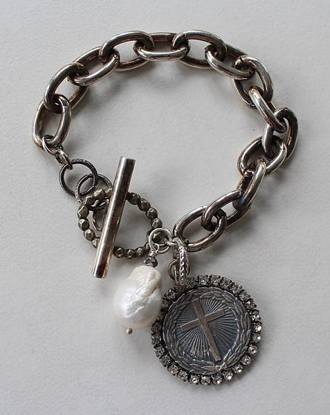 Sterling Silver Clad  Bracelet with Cross and Fresh Water Pearl - The Boyfriend Bracelet