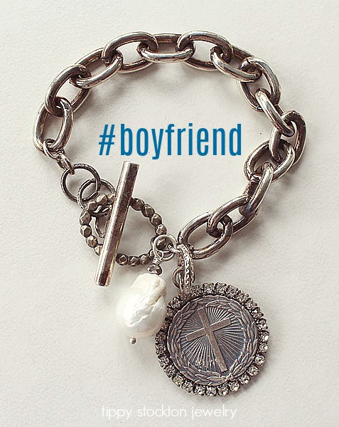 Sterling Silver Clad  Bracelet with Cross and Fresh Water Pearl - The Boyfriend Bracelet