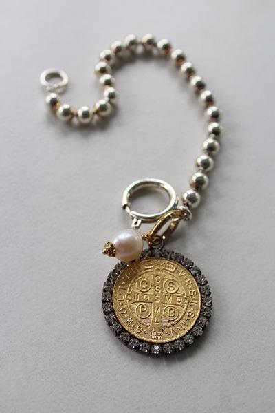 Sterling Clad Ball Chain with Benedictine Rhinestone Cross Charm - The Benedicta Bracelet