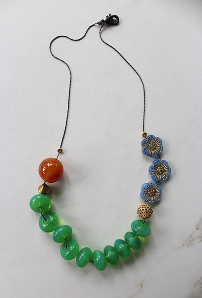 Vintage Glass and Carnelian Chunky Necklace -  The Cora Necklace