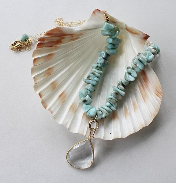 Larimar Tear Drop Pendant - The Jessalyn Necklace