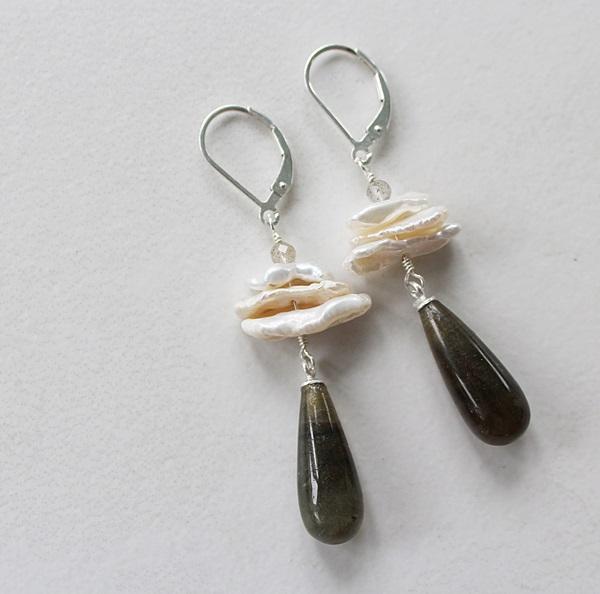 Labradorite and Fresh Water Pearl Earrings - The Lisa Earrings