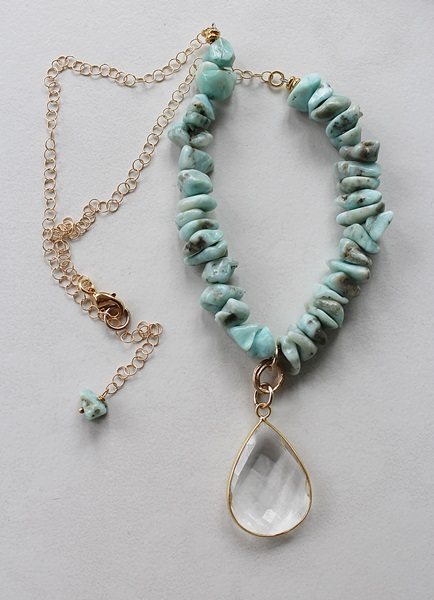 Larimar Tear Drop Pendant - The Jessalyn Necklace