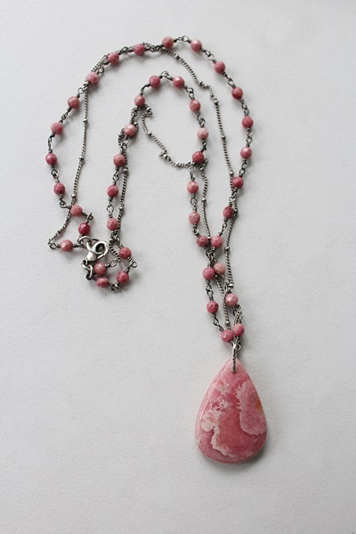 Rhodonite Pendant on Double Chain Necklace - The Christine Necklace