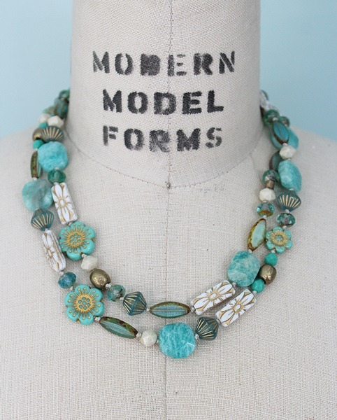 Aqua Glass Knotted Layering Necklace - The Leah Necklace
