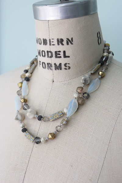 Grey Glass Knotted Layering Necklace - The Hannah Necklace