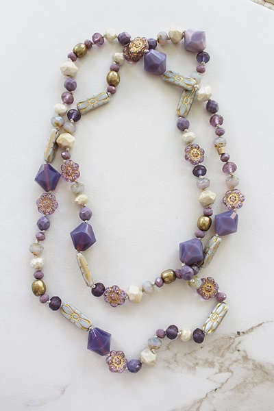 Purple Glass Knotted Layering Necklace - The Heather Necklace