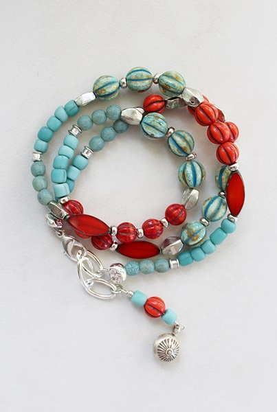 Mixed Aqua/Orange Czech Glass Wrap Bracelet/Necklace - The Sunset Cay Bracelet