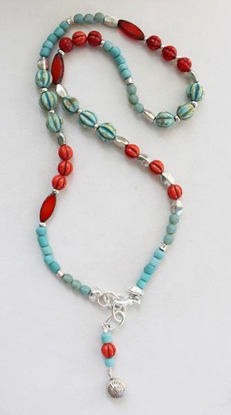 Mixed Aqua/Orange Czech Glass Wrap Bracelet/Necklace - The Sunset Cay Bracelet