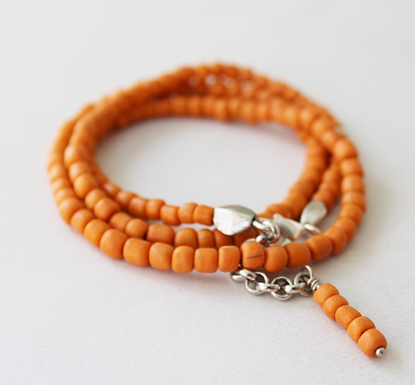 Orange Java Bead Bracelet/Necklace - The Folly Beach Bracelet/Necklace