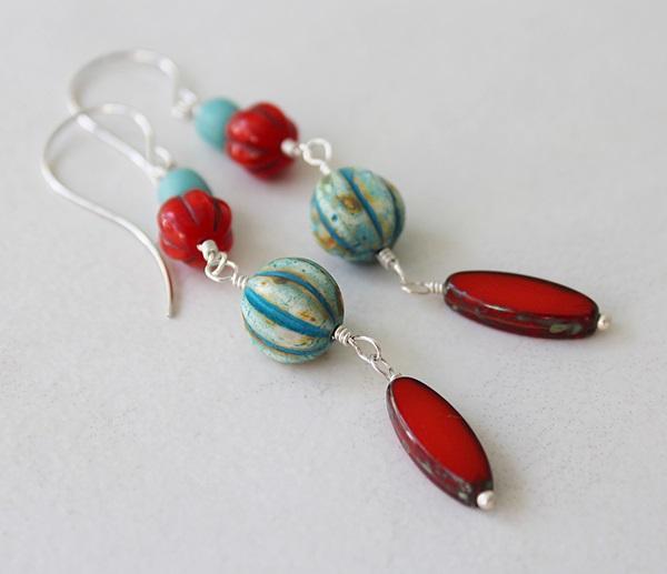 Czech Glass Earrings - The Sunset Cay Earrings