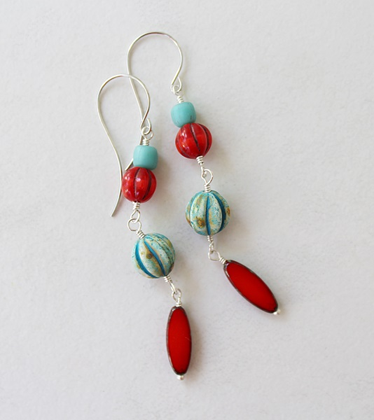 Czech Glass Earrings - The Sunset Cay Earrings