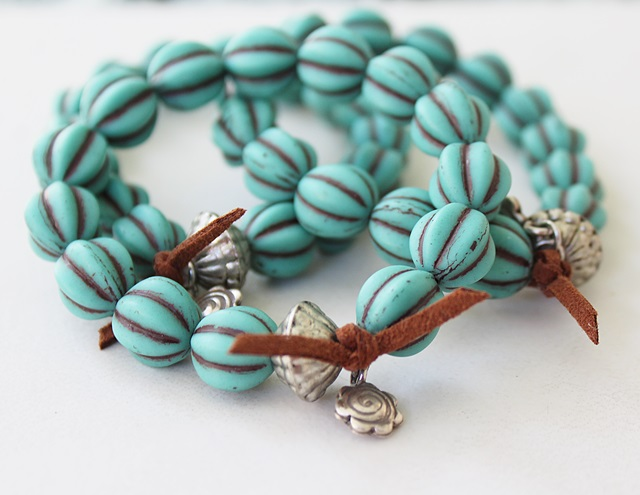 Czech Melon Glass Stretch Bracelet - The Regatta Bracelet