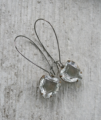 The Sweet Earrings in Clear - Vintage Cabochon and Oxidized Silver