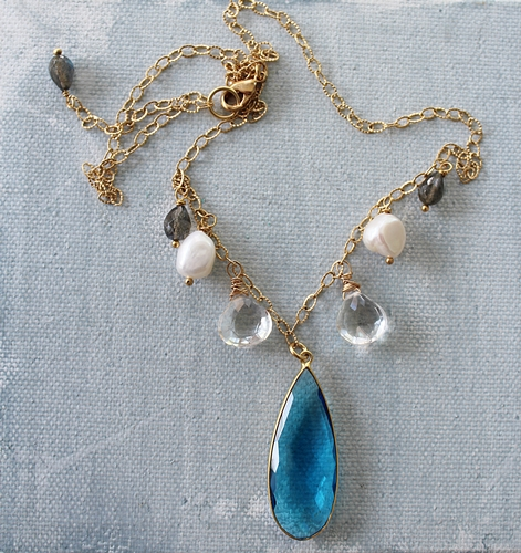 Swiss Blue Topaz Clear Quartz Fresh Water Pearl and Labradorite Necklace - The Mille Necklace